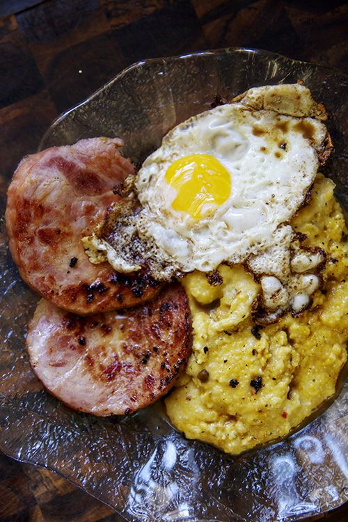 Country Ham - Grits - Eggs with Red Eye Gravy - country ham slices - 8 eggs - yellow corn grits - heavy cream - butter - black coffee