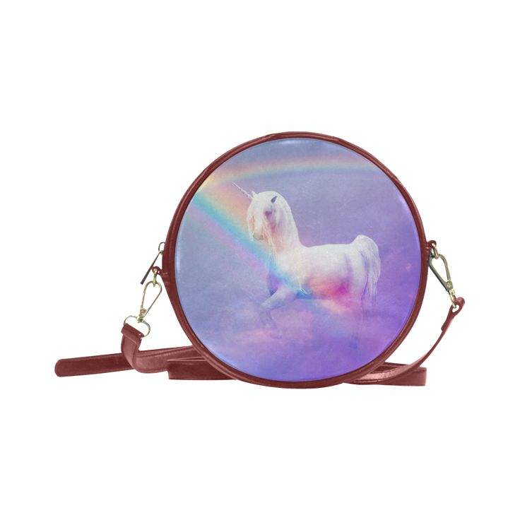 Unicorn and Rainbow Round Messenger Bag. FREE Shipping. #artsadd #bags #unicorns