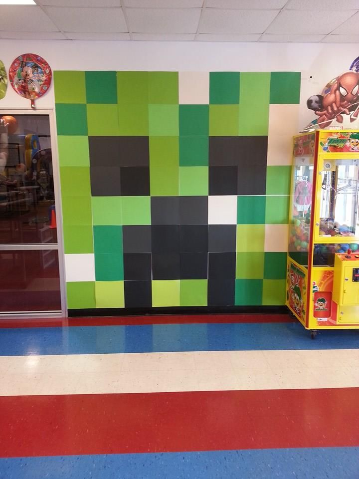 Minecraft wall art made out of 12x12 scrapbook paper for Room decor out of paper