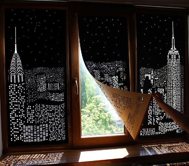 Blackout Blinds Provide Illusion Of Living Above A Huge City