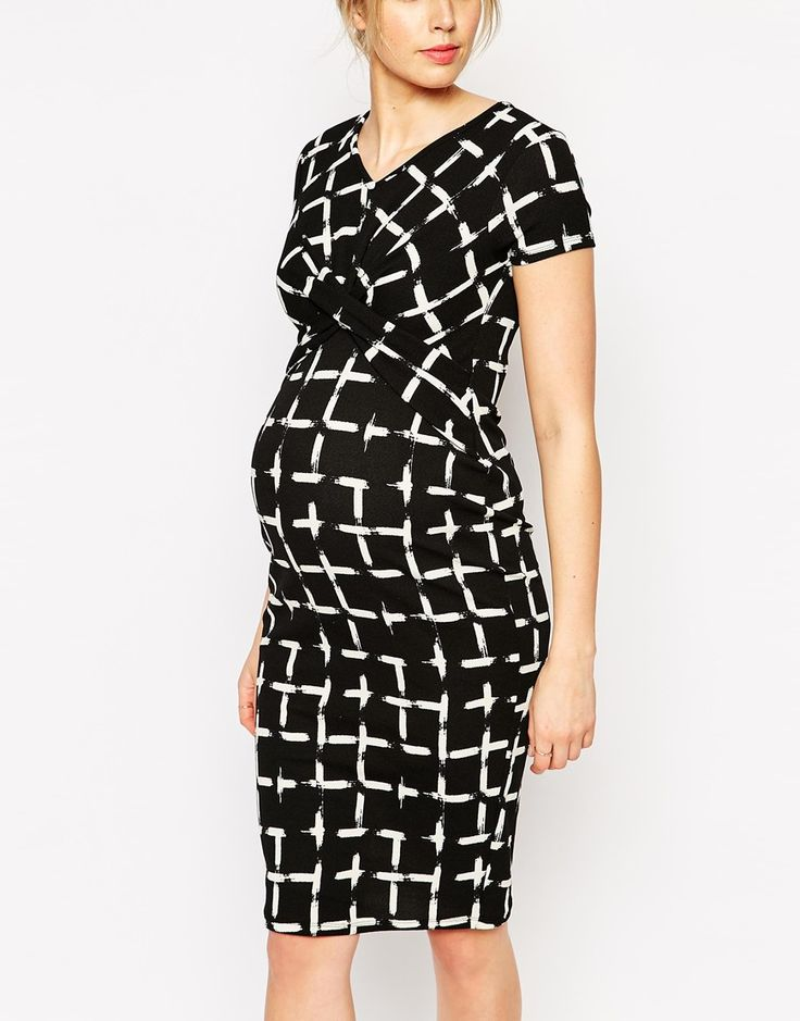 Image 3 of ASOS Maternity Textured Body-Conscious Dress In ...