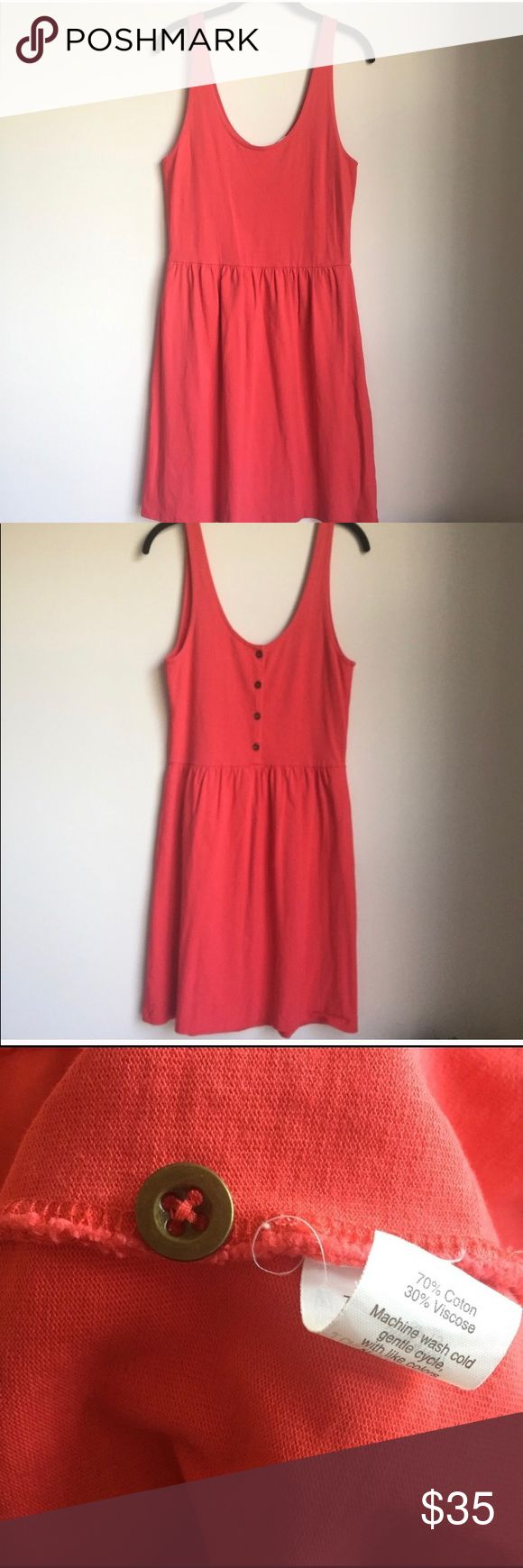 🍭J. Crew Bright Coral Sundress Beautiful Coral color- perfect for summer!  Dress has buttons down the back for extra bit of cuteness. (There is a button sewn inside of dress- pic 3).  Very good condition! Dresses