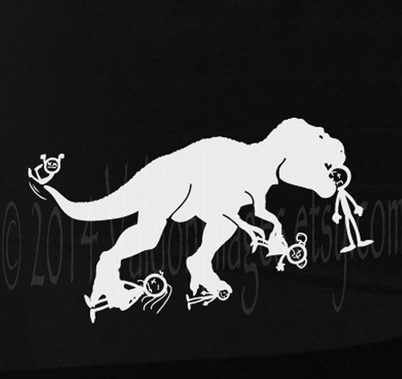 T Rex Eating Up Your Stick Family Car And Laptop Decal