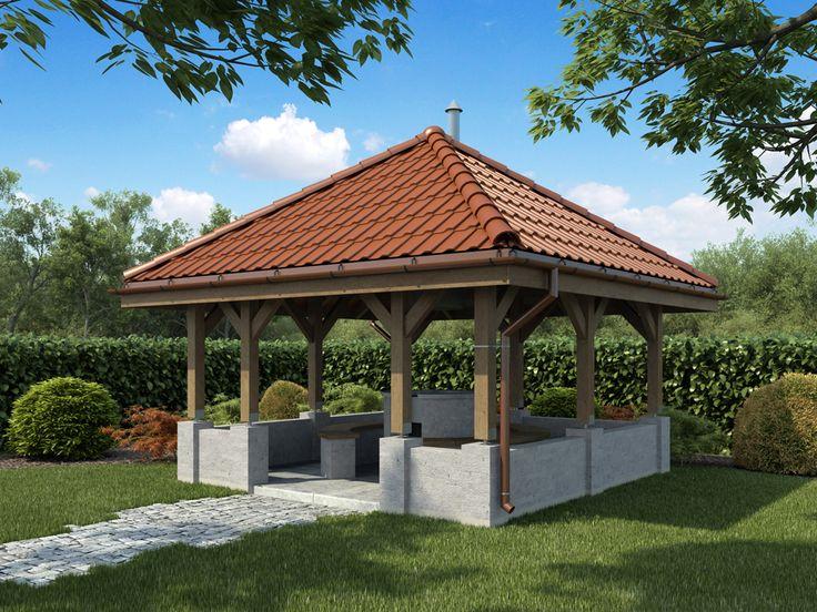 Grill zaprojektowano na rzucie wycinka koła z otaczającą go ławką do siedzenia.