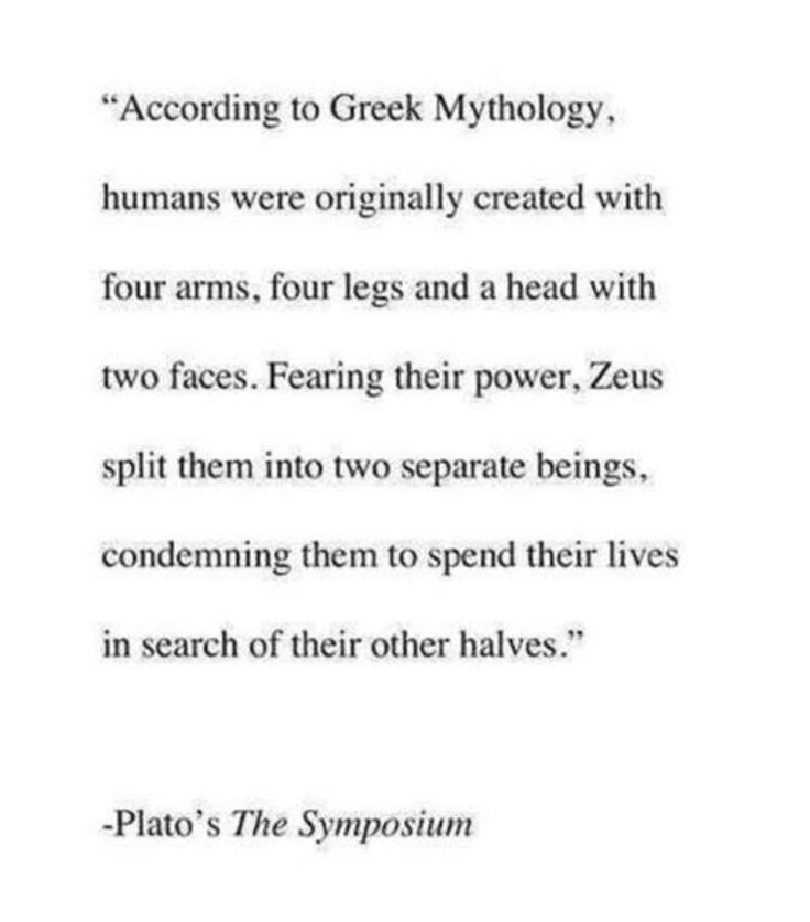 "So without Zeus, there'd be no such thing called ""soulmates""."