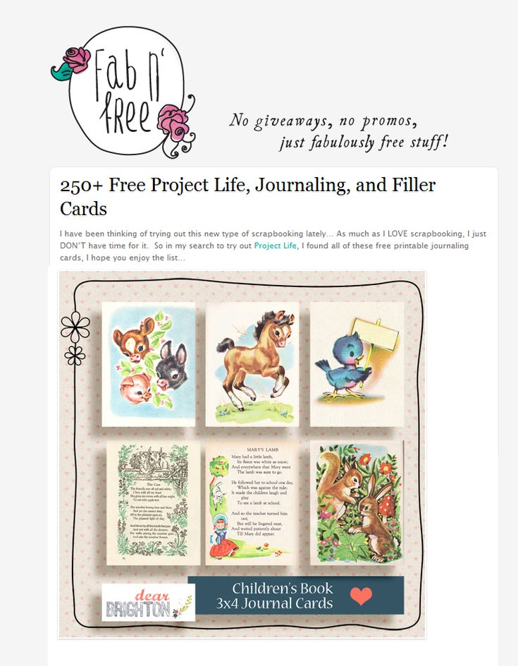 Printable Project Life Cards -- these are adorable!  Like book illustrations from my childhood...