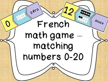 French math game - Matching numbers - Le jeu des chiffres