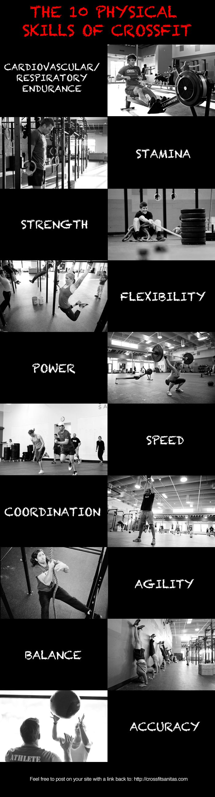 CrossFit is designed to develop 10 general physical skills. They are: Cardiovascular/respiratory endurance - The ability of body systems to gather, process, and deliver oxygen. Stamina - The ability of body systems to process, deliver, store, and utilize energy. Strength - The ability of a muscular unit, or combination of muscular units, to apply force.…