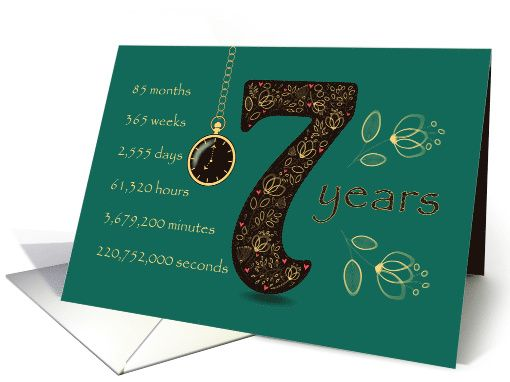 Congratulations on 7th Cancer Free Anniversary. Time counting card