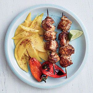 Honey-Lime Chicken Kebabs with Mango Slices | MyRecipes.com