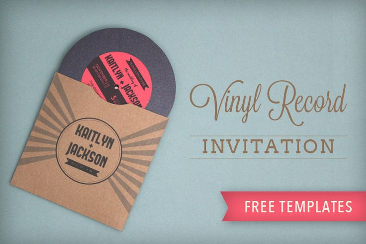 I would use these to put the wedding schedule on- one for each table!   Totally free, totally rockin' DIY vinyl record wedding invitation from Download & Print