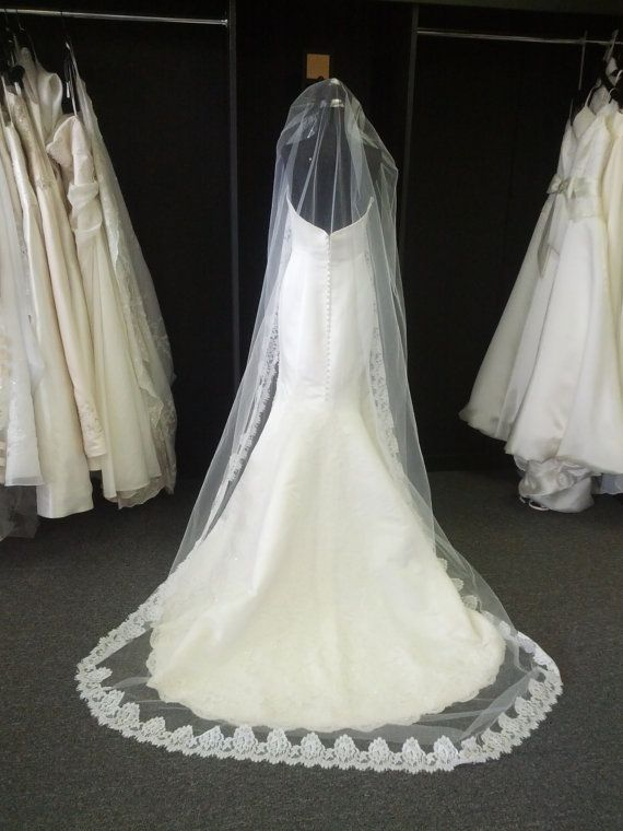 Long Lace Trim Wedding Veil Chapel Length By BellaVittoria Want A Like This With