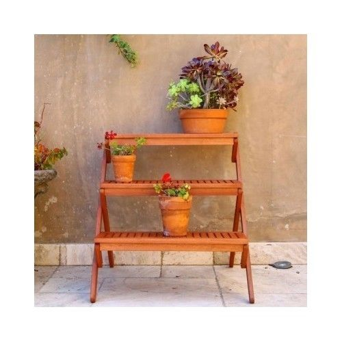Antique Wooden Plant Stand Display Garden Outdoor Patio