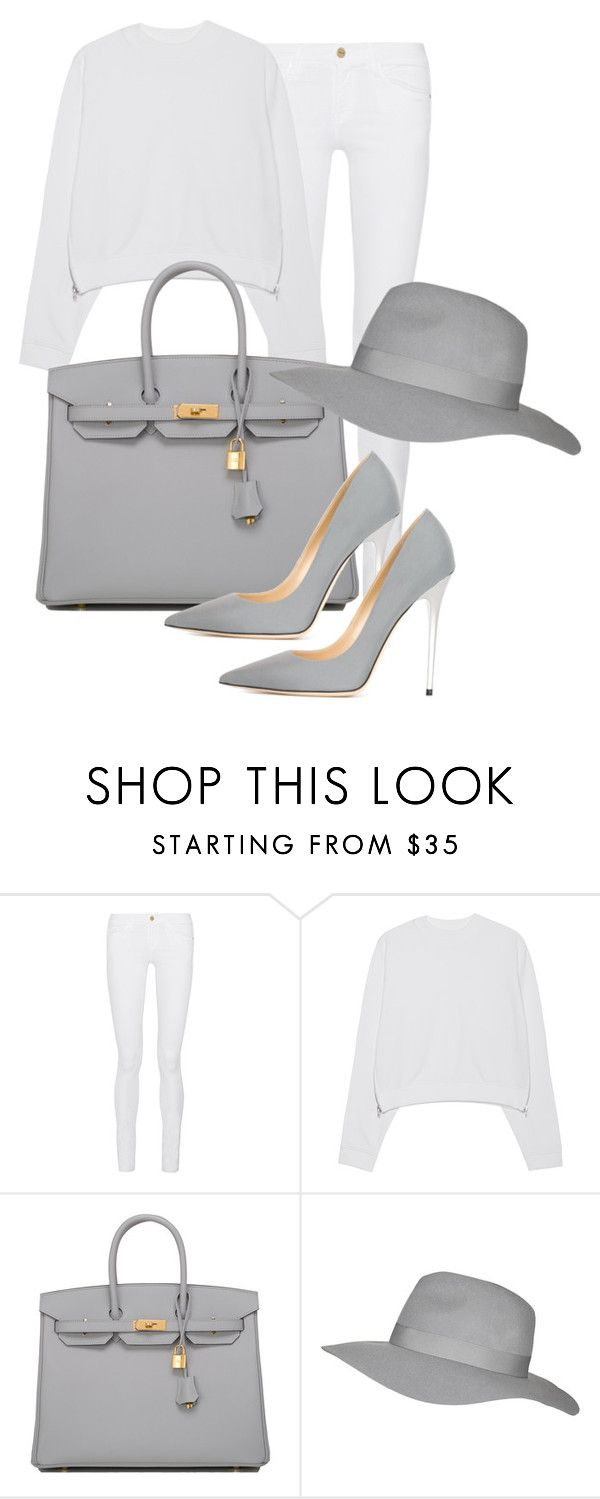 Shades of Grey by goldlabl on Polyvore featuring Acne Studios, Frame Denim, Jimmy Choo, Hermès and Topshop