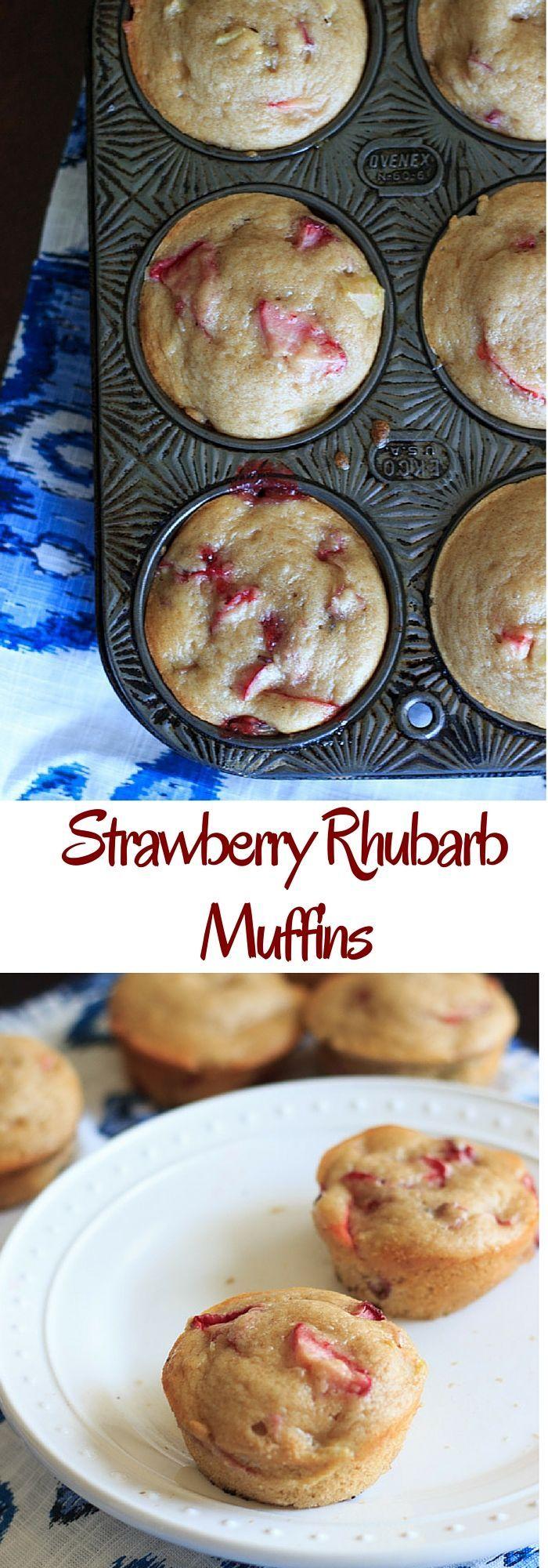 Strawberry rhubarb muffins with a dash of cinnamon, using greek yogurt instead of milk and applesauce instead of oil.
