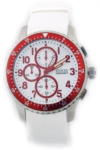 GUESS Mens Geared For Adventure Chronograph White Dial Stainless Steel Case Rubber Watch U12651G3