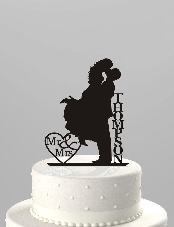 Wedding Cake Topper Silhouette Couple Mr