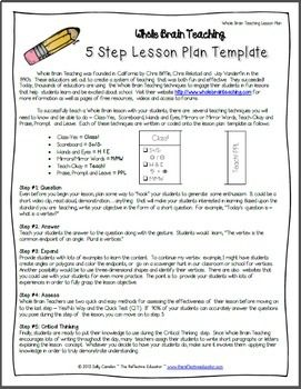 whole brain teaching 5 step lesson plan template free lesson