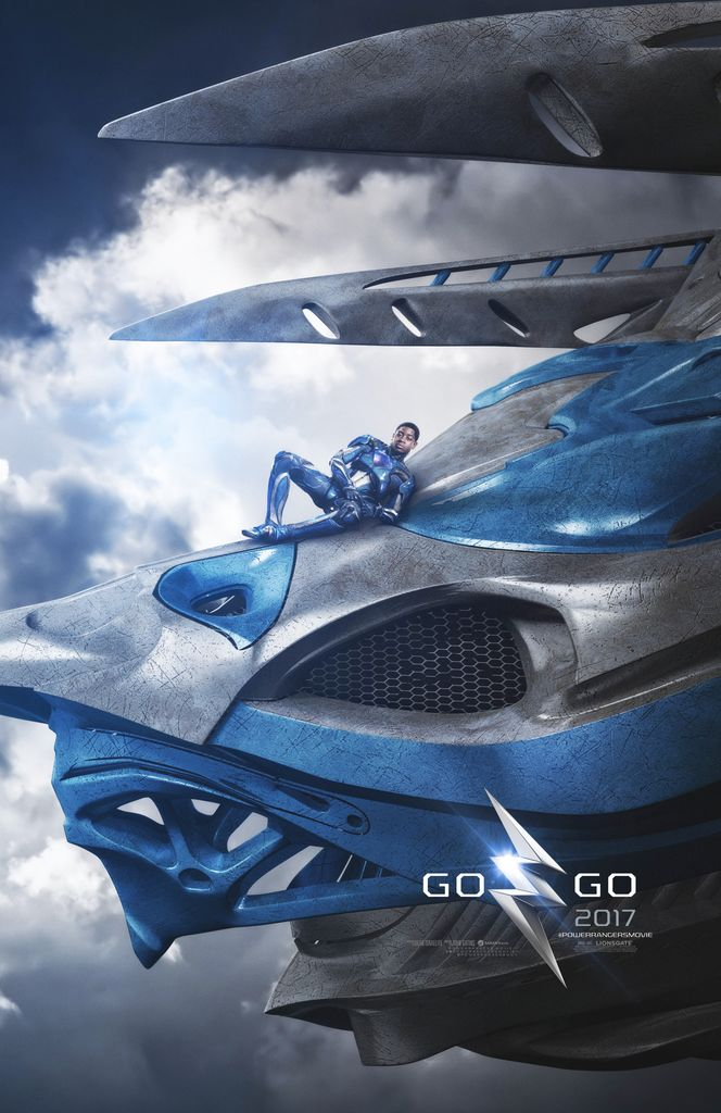 2017 MMPR movie Blue Ranger on Triceratops Zord Teaser Poster