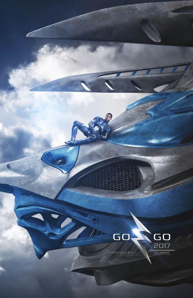 2017 MMPR movie Blue Ranger on Triceratops Zord Teaser Poster