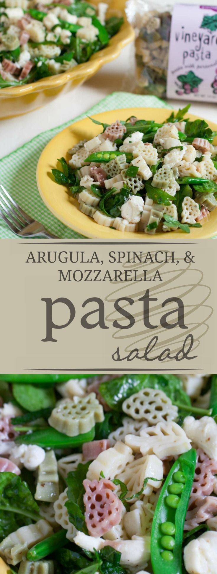 Arugula, Spinach, and Mozzarella Pasta Salad | Tasty and nutritious, this light pasta salad is the yummiest way to get in those greens! Perfect for family dinner! | http://WorldofPastabilities.com
