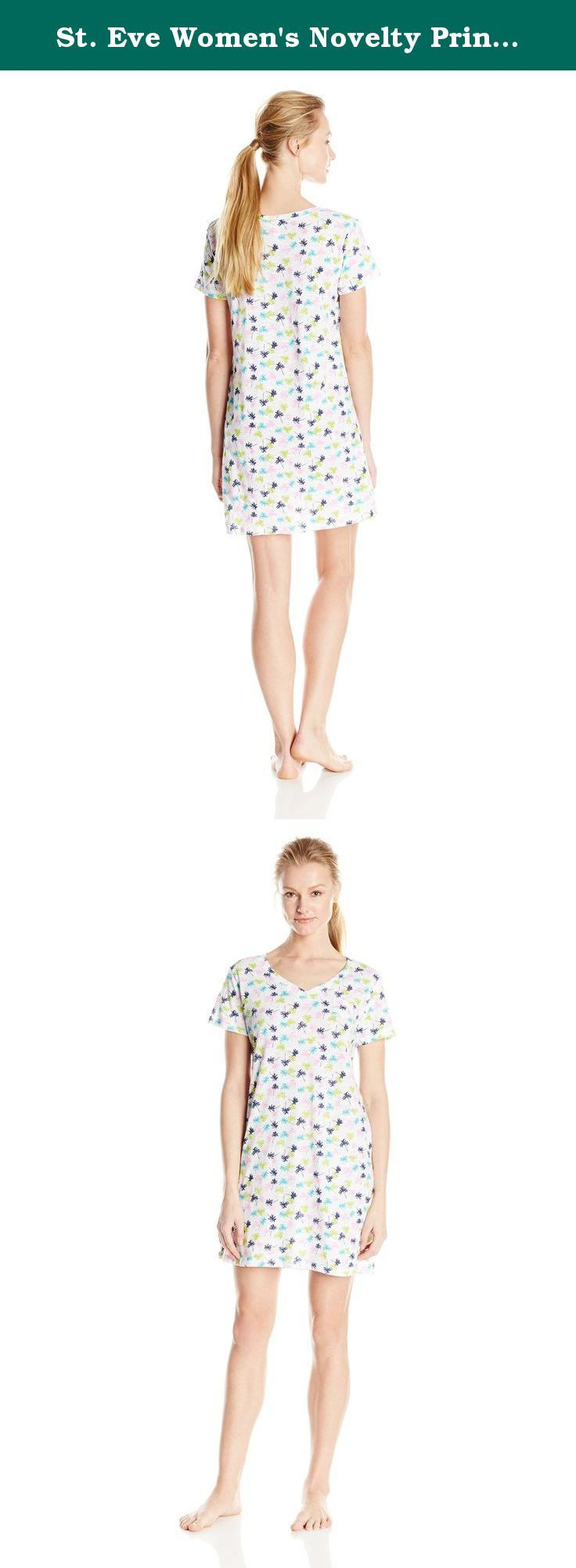 St. Eve Women's Novelty Print Sleepshirt, Palm Trees, Medium. The st eve cotton sleep shirt is all about ease and comfort in a colorful allover novelty print.