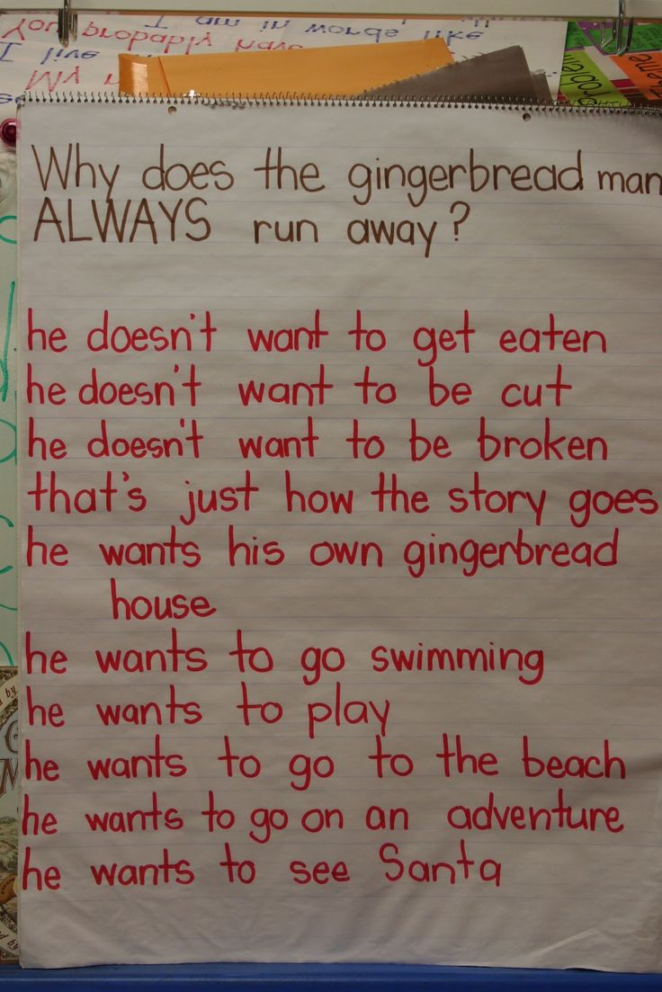 Circle time survey: why does the gingerbread man always run away?