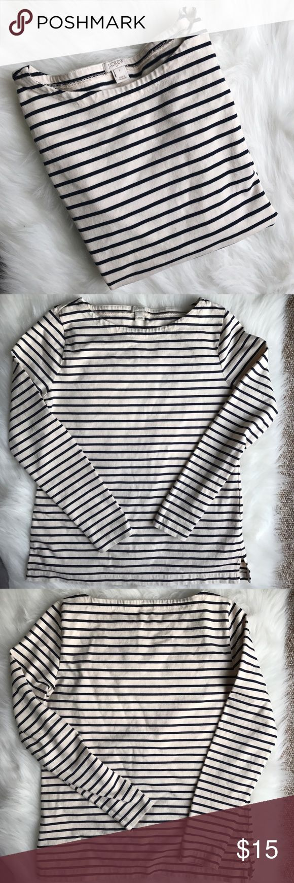 J crew boat neck long sleeve top Cream and navy but can appear cream and black in my pictures or from afar. Classic striped long sleeve boat neck top. Only worn once. J. Crew Tops Tees - Long Sleeve