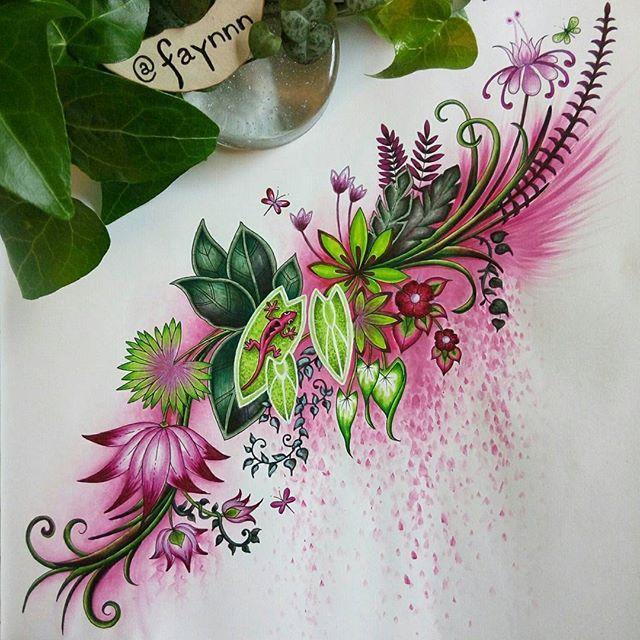 WEBSTA @ faynnn - #coloriage #coloring #colouring #coloriagepouradulte #adultcoloring #adultcolouring #coloringbook #livredecoloriage #arttherapie #arttherapy #colortherapy #pen #feutre #stabilo #stabilo68 #stabilo88 #fabercastell #fabercastellpitt #watercolor #aquarelle #winsorandnewton #mycreativeescape #jungle #magicaljungle #johannabasford