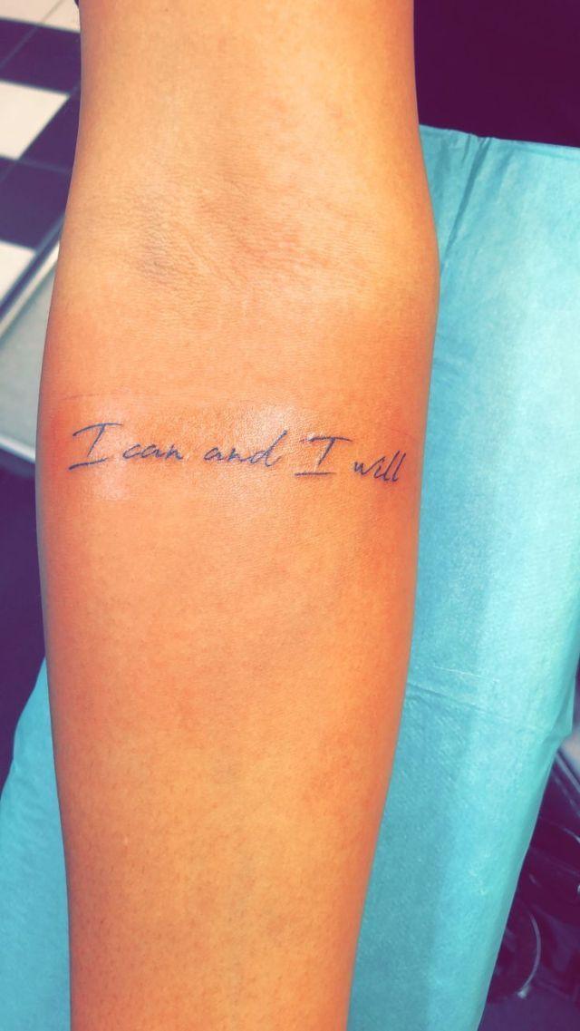 Dies ist mein zweites Tattoo. Ich kann und ich werde, denn das ist die Person, die ich a