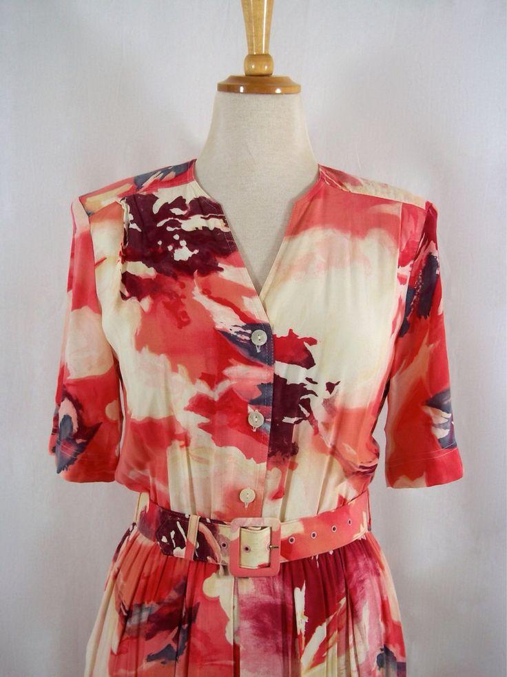 Vintage 1980's 'Mandy Marsh' Marbeled/Watercolour Floral Print Tea Dress UK size 10 by oldsmocks on Etsy