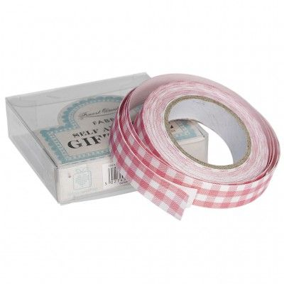 Ruban masking tape tissu vichy rose - 5 mètres- 5.49 euros