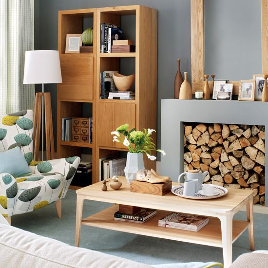 Grey + wood, maybe for the kitchen...I think it would look great with yellow accents.