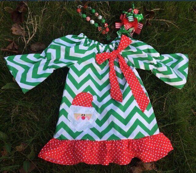 Preorder- Holiday Chevron Santa Dress