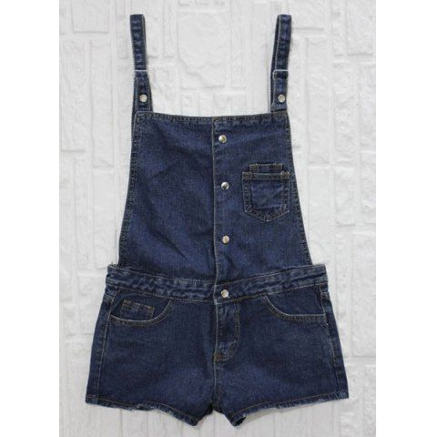 Preppy Style Loose-Fitting Slimming Bleach Wash Button And Pocket Design Denim Women's Overalls