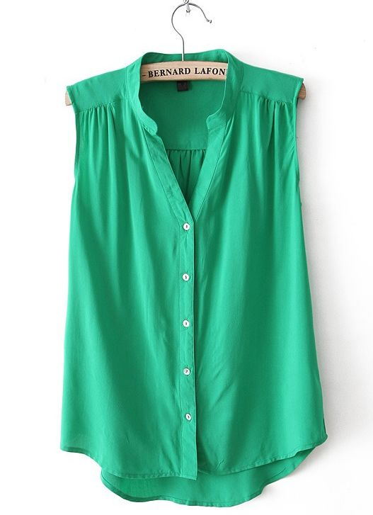 Green V Neck Sleeveless Dipped Hem Blouse US$23.77