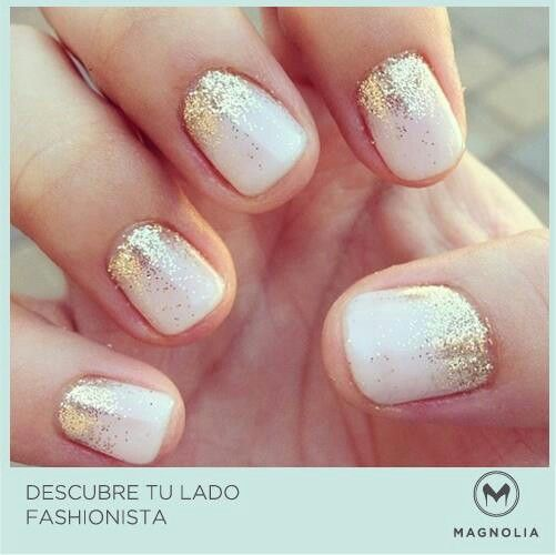 white nails gold sparkle --- should i do or not ?!?!?!