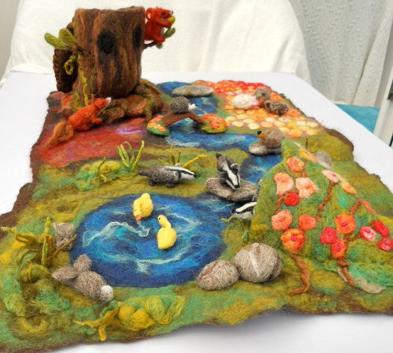 Large size Waldorf Play scape Play mat Play item with a cave, river, rocks, forest area and flower field Wet Felted Needle felted