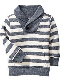 Striped Shawl-Collar Pullovers for Baby