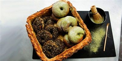 Try this Nori Bagels & Matcha Tea Bagels  recipe by Chef Fiona.This recipe is from the show The Great Australian Bake Off.