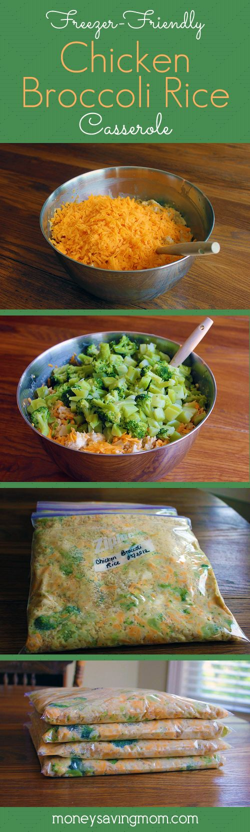 "Freezer Friendly Chicken Broccoli Rice Casserole -- makes (4) 8x8 casseroles. Need: 10 c. cooked rice (white or brown); 4 c. cooked chicken, chopped; 4 c. chopped broccoli, lightly steamed (can use frozen or fresh); 2 cans cream of mushroom soup; 2 cans cream of chicken soup; 4 c. shredded cheddar cheese; salt and pepper to taste. (Also has recipe to make your own ""cream of"" soups)"