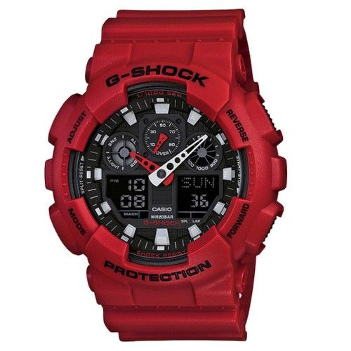 Gents Casio G-Shock red chronograph watch GA-100B-4AER This striking Casio watch from the G-Shock range features a red resin chunky design and a large analogue and digital dial. The chronograph dial has a mixture of sub-dials and digital displays showing the day, date, and seconds counter. Functions to this watch include a stopwatch/timer, alarm, world time and back light.  RRP £110 Our Price £70