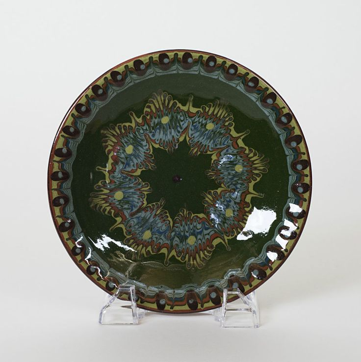 Troyan Ceramics Bulgaria Slip Decorated Redware Plate 7