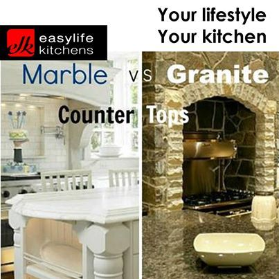 Tuesday teaser from Easylife Kitchens George. Which counter top do you prefer, Marble or Granite? Tell us which you would like in your home. #marblevsgranite #countertops