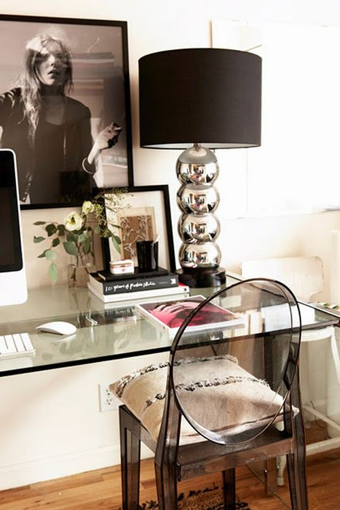 Desk work space. I already have the Louis Ghost Chair. Now I need to find that beautiful glass desk!