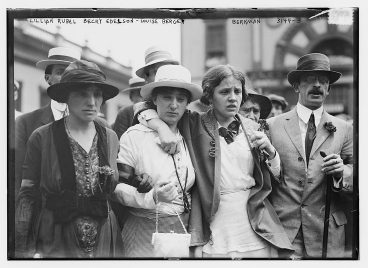 Louise Berger (third from left) and Alexander Berkman (right) view the wreckage of the bombing.  A member of the Anarchist Red Cross and an editor of Emma Goldman's Mother Earth Bulletin, Berger had lent the five anarchists her apartment while they built their bomb. Alexander Berkman, an anarchist and I.W.W. leader (and dandy) who was based in the city. In 1892, during a labor dispute in Pittsburgh, Berkman had shot the industrialist Henry Clay Frick, and then stabbed him with a steel file.