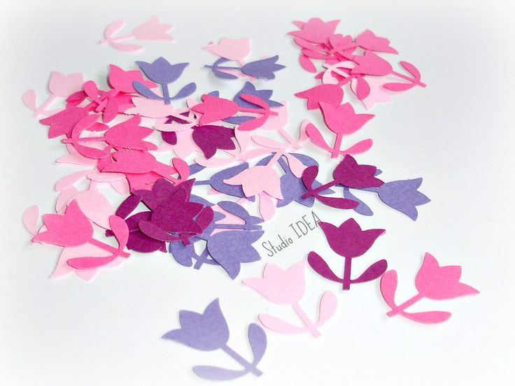 120  Mixed Pink & Purple Tulip Confetti, Flower Cut-outs, or Choose your…