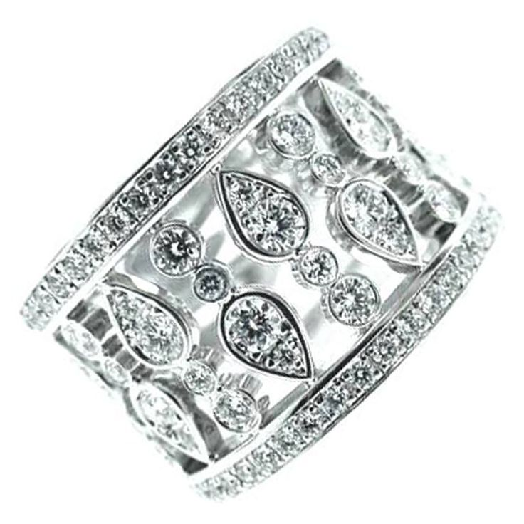 Chopard Dazzling Diamond Wide Ring   From a unique collection of vintage band rings at https://www.1stdibs.com/jewelry/rings/band-rings/