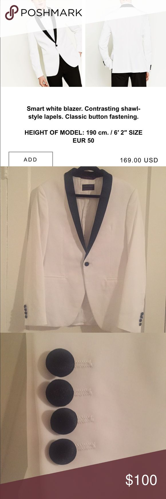 • ZARA • men's blazer with shawl lapel New Zara blazer. Bought earlier this year and worn only once for a wedding. Just dry cleaned. Perfect condition. Pairs well with black pants. Zara Suits & Blazers Sport Coats & Blazers