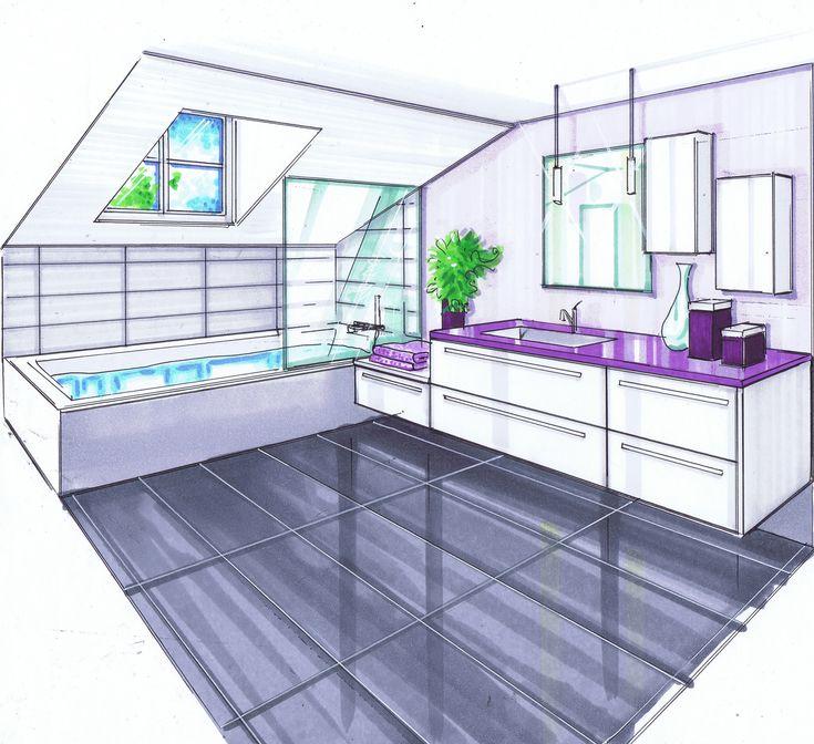 Salle de bains en sous-pente. Cette pièce représente environ 9m² au sol. La baignoire est placée sous la sous-pente pour des raisons pratiques. Un pare-bain est placé sur le côté pour protéger les meubles des éclaboussures de la douche. Le meuble sous...